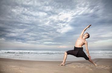 Yoga warrior pose in India