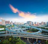 city interchange overpass at dusk