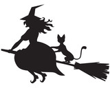 Witch on a broom and cat