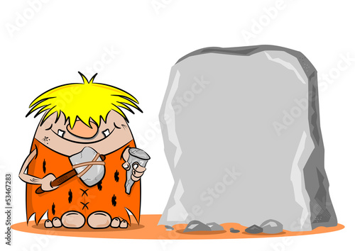 A cartoon caveman with hammer and chisel next to a blank rock
