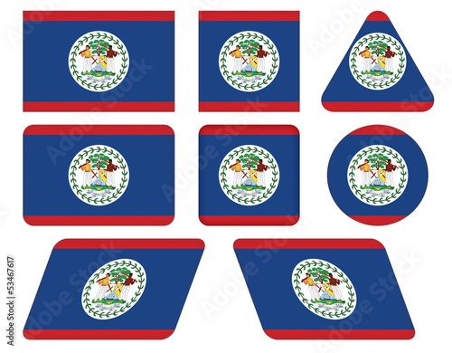 set of buttons with flag of Belize
