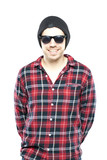Hipster man in plaid shirt