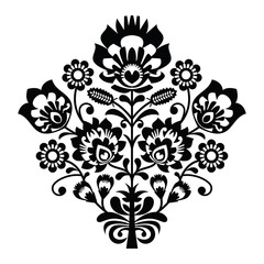 Traditional polish folk pattern in black and white