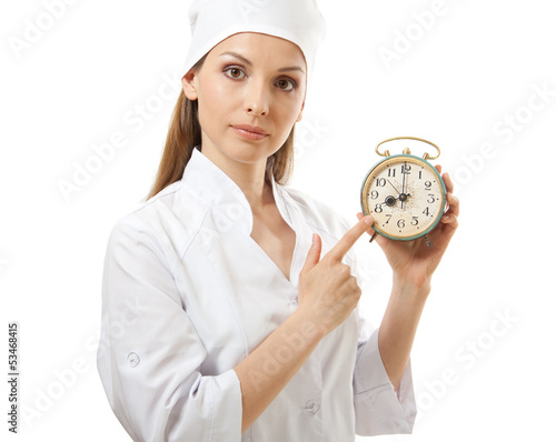 medical female doctor holding alarm clock,  isolated on white