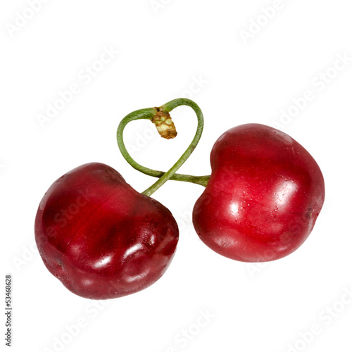 Liebe: Zwei Kirschen, herzförmig verbunden