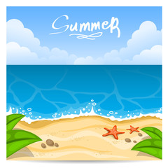 Summer beach. Vector illustration