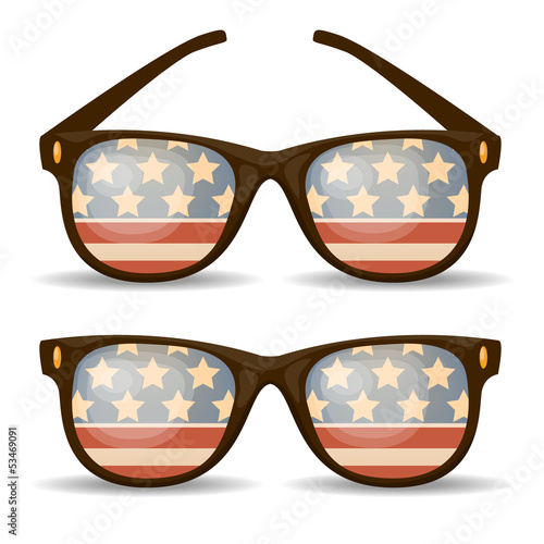 Set of sunglasses. American flag. Vector illustration