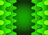 Green vertical wave abstract background with ornament