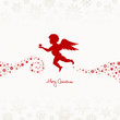 Flying Angel Holding Star Beige/Red Snowflakes