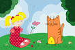 Vector cartoon illustration of cat and girl sitting on the grass