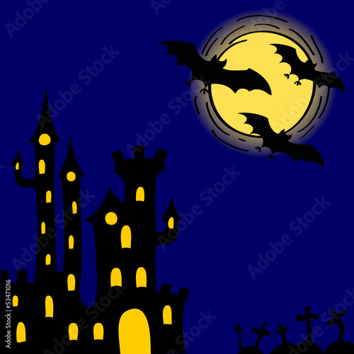 Halloween card with ghosts castle