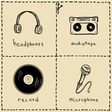 Music equipment doodles set