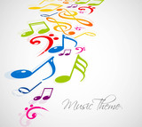 abstract music notes colorful background vector design