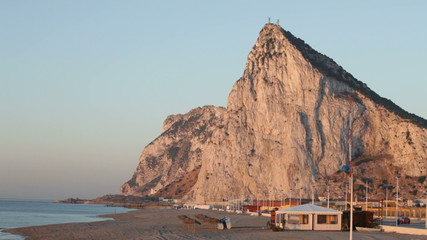 Rock of Gibraltar and sandy beach