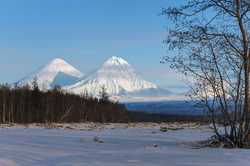 Klyuchevskoy Volcano and Kamen Volcano on the Kamchatka