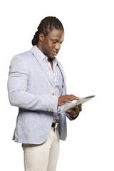 Black business man in light suit