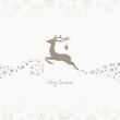 Flying Reindeer, Christmas Ball & Stars Beige/Taupe