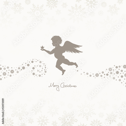 Flying Angel Holding Star Beige/Taupe Snowflakes