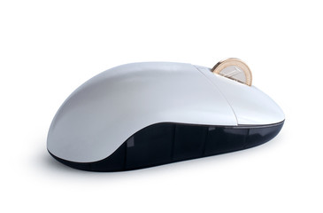 Mouse with coin isolated with clipping path
