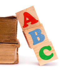 Alphabet letter ABC blocks for kids and old books