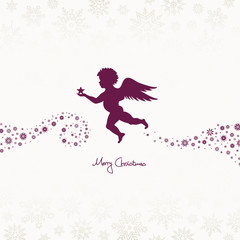 Flying Angel Holding Star Beige/Purple Snowflakes
