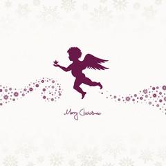 Flying Angel Holding Star Beige/Purple Snowflakes