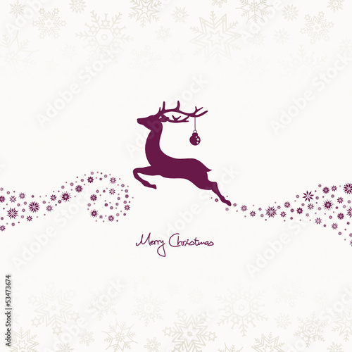Flying Reindeer, Christmas Ball & Stars Beige/Purple