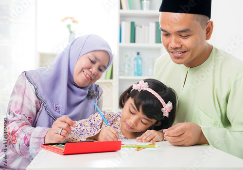 Muslim family drawing and painting