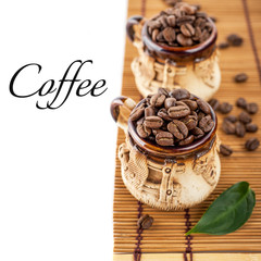 Mugs with coffee beans