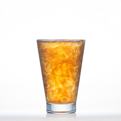 Lemon tea cold drinks with ice in glass isolated