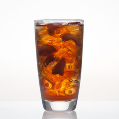 Longan cold drink with ice in glass isolated