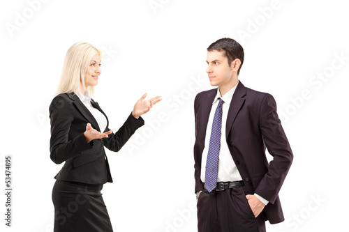 Business partners having a conversation