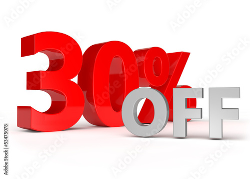 3d text for 30 percent off