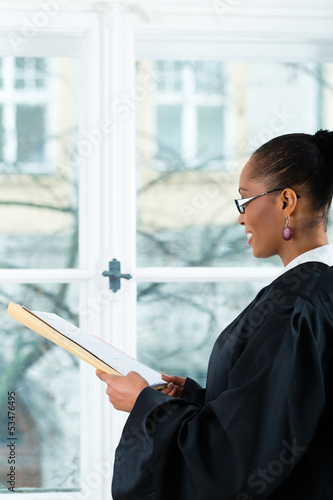 Lawyer in office with dossier standing an window