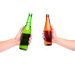 Two beer bottles and hands