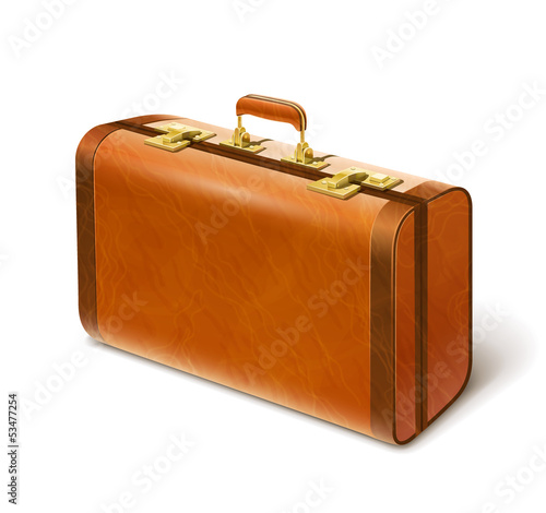 big leather suitcase vector illustration isolated on white