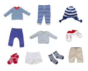 baby clothes set on white background