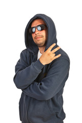 Hip hop man gesturing with fingers