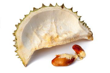 durian is open the rind isolated