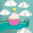 Cupcake with blue background