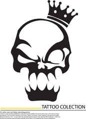 black skull with crown isolated on white background