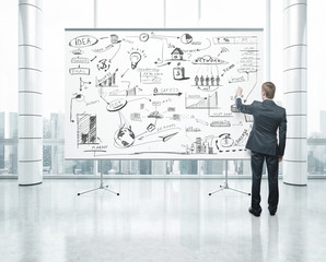 man drawing on white poster