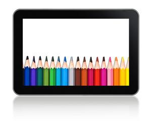 Tablette numérique crayons de couleurs