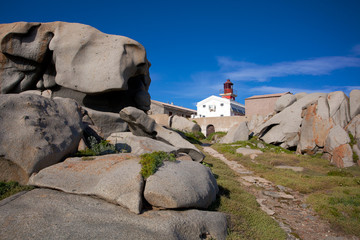lighthouse among the boulders on Lavezzi island, Corsica, France