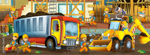On the construction site - illustration for the children