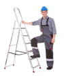 Portrait Of Male Worker With Ladder