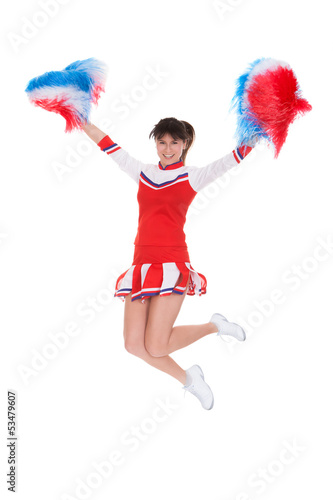 Cheerleader Jumping With Pom-pom