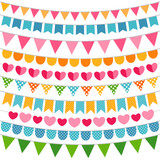 Colorful garlands and bunting flags