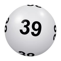 Loto, boule blanche numéro 39