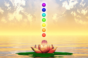 Heiliger Lotus und Chakra-Kugeln